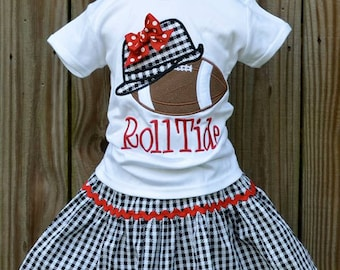 Personalized Houndstooth Fedora with Football Applique Shirt or Bodysuit