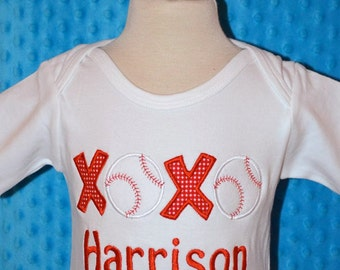 Personalized Valentine's XOXO Baseball Heart  Applique Shirt or Bodysuit Girl or Boy
