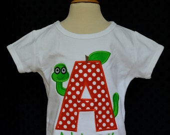 Personalized Initial with Book Worm Applique Shirt or Bodysuit Girl