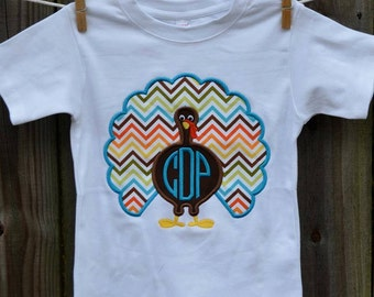 Personalized Turkey Applique Shirt or Bodysuit for Boy or Girl