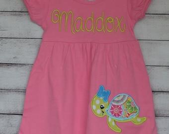 Personalized Sea Turtle Applique Dress, Shirt or Bodysuit Girl