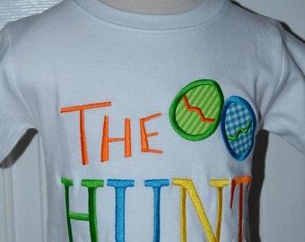 Personalized Easter Egg Hunt Applique Shirt or Bodysuit Girl or Boy