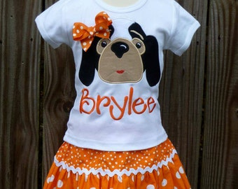 Personalized Football Hound Dog Face Applique Shirt or Bodysuit