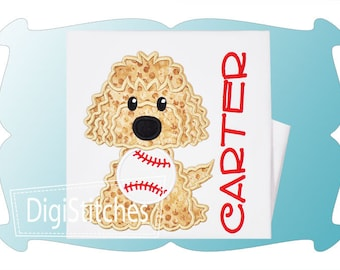 Personalized Golden Lab Doodle Dog Baseball Softball Monogram Applique Shirt or Bodysuit Girl Boy