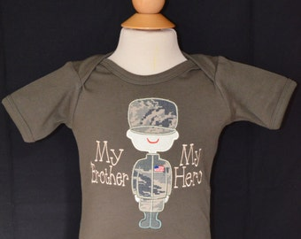 Personalized Military Man My Dad's My Hero or My Mom's My Hero Applique Shirt or Bodysuit Boy or Girl