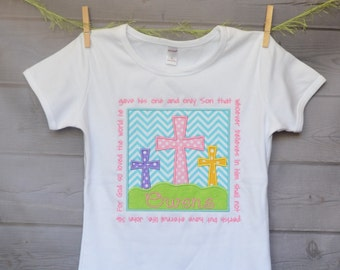 Personalized Easter Triple Cross Applique Shirt or Bodysuit Girl or Boy