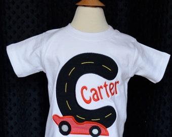 Personalized Monogram Racecar Initial Applique Shirt or Bodysuit Boy or Girl