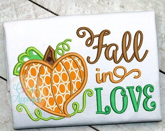 Personalized Fall In LOVE Pumpkin Applique Shirt or Bodysuit for Boy or Girl