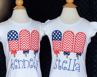 Personalized 4th of July Patriotic Popsicle Flag Applique Shirt or Bodysuit Girl Boy