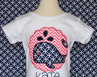 Personalized Nautical Whale Patch Applique Shirt or Bodysuit Girl or Boy