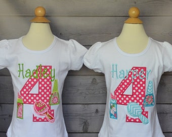 Personalized Birthday Make Up Spa Applique Shirt or Bodysuit Girl or Boy