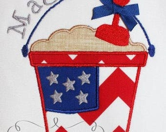 Personalized 4th of July Patriotic Sand Bucket Pail Applique Shirt or Bodysuit Girl Boy