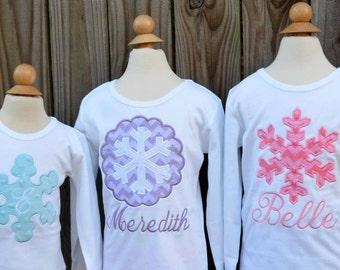 SnowFlake Applique Shirt or Bodysuit Boy or Girl