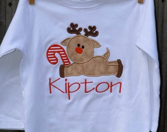 Reindeer with Candy Cane Applique Shirt or Bodysuit Boy or Girl