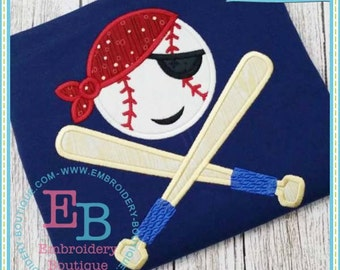 Personalized Pirate Baseball Bats Applique Shirt or Bodysuit Girl