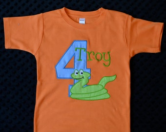Personalized Birthday Snake Applique Shirt or Bodysuit for Boy or Girl