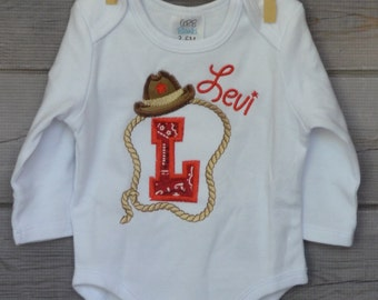 Personalized Cowboy Hat Rope Giddy Up Initial Applique Shirt or Bodysuit Boy or Girl