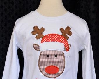 Reindeer with Santa Hat Applique Shirt or Bodysuit Boy or Girl