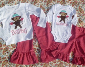 Monkey with Mittens & Hat Applique Shirt or Bodysuit Boy or Girl