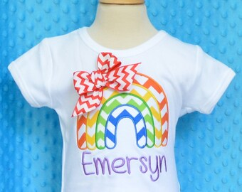 Personalized Rainbow Applique Shirt or Bodysuit Girl