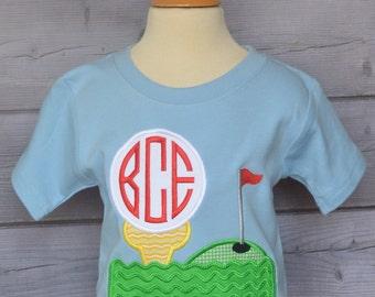 Personalized Golf Tee Monogram Applique Shirt or Bodysuit Boy or Girl