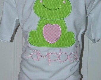 Personalized Frog Applique Shirt or Bodysuit Girl