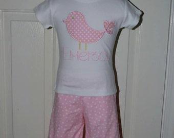 Personalized Bird Applique Shirt or Bodysuit Girl