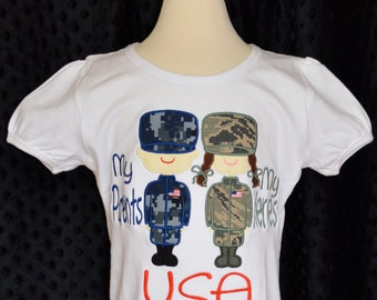 Personalized Military Man/Woman My Parents My Heroes Applique Shirt or Bodysuit Boy or Girl