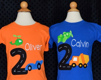 Personalized Birthday Transportation Vehicles & Track Number Applique Shirt or Bodysuit Girl or Boy