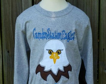 Personalized Football Eagle Face Applique Shirt or Bodysuit