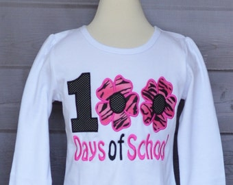 100 Days of School Flowers Applique Shirt or Bodysuit Boy or Girl