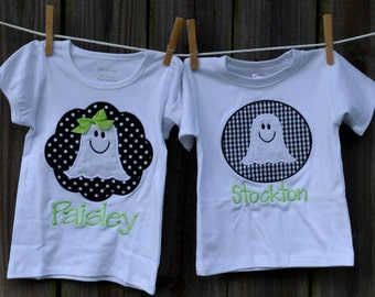 Personalized Halloween Ghost Patch Applique Shirt or Bodysuit for Boy or Girl