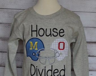 Personalized House Divided Football Team Applique Shirt or Bodysuit Choose Your Teams & Colors