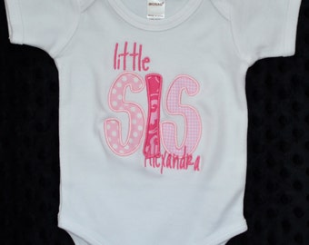 Personalized Big Little Middle Bro Big Little Middle Sis Applique Shirt or Bodysuit Girl or Boy