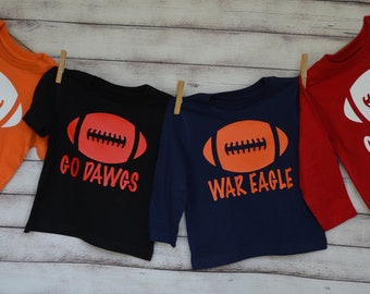 Personalized Football Heat Press Vinyl Shirt or Bodysuit for Boy or Girl