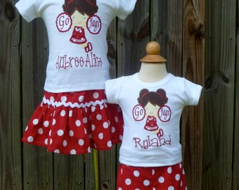 Personalized Football Cheerleader Girl Applique Shirt or Bodysuit