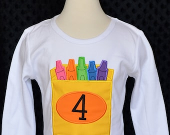 Personalized Crayons Applique Shirt or Bodysuit Girl