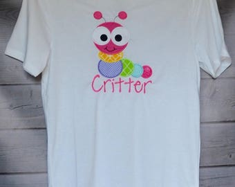Personalized Big Eyed Caterpillar Applique Shirt or Bodysuit Boy or Girl
