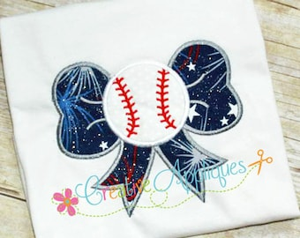 Personalized Baseball Softball Bow Applique Shirt or Bodysuit Girl Boy
