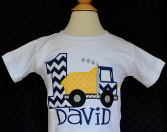 Personalized Birthday Dump Truck Applique Shirt or Bodysuit Girl or Boy