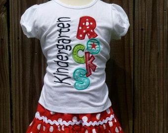 Personalized Kindergarten Rocks Applique Shirt or Bodysuit Girl or Boy