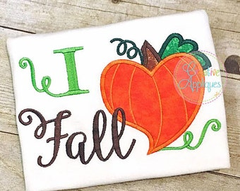 Personalized I HEART Fall Pumpkin Applique Shirt or Bodysuit for Boy or Girl