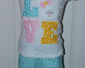 Personalized Easter LOVE Bunny Applique Shirt or Bodysuit Girl or Boy