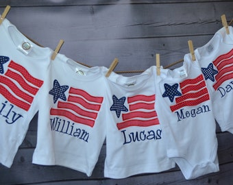 Personalized 4th of July Patriotic Star Flag Applique Shirt or Bodysuit Girl Boy