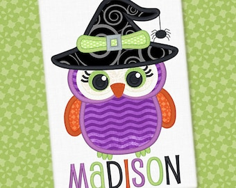 Personalized Halloween Girly Owl with Witch Hat Applique Shirt or Bodysuit for Boy or Girl