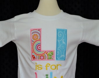 Personalized Initial Name Alphabet Applique Shirt or Bodysuit Boy or Girl