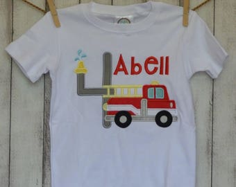Personalized Birthday Firetruck with Hose Applique Shirt or Bodysuit Girl or Boy