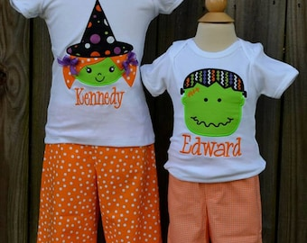 Personalized Halloween Witch or Monster Applique Shirt or Bodysuit for Boy or Girl