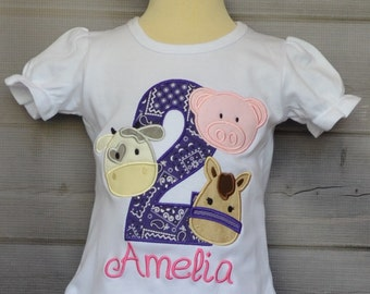 Personalized Birthday Cow Pig Horse Applique Shirt or Bodysuit Girl or Boy