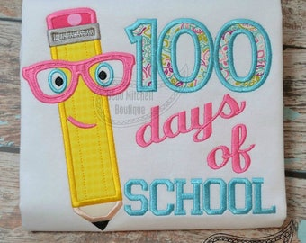 100 Days of School Pencil with Glasses Applique Shirt or Bodysuit Boy or Girl